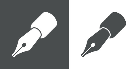 Icono plano pluma gris