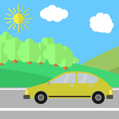 Yellow Car on a Road on a Sunny Day. Summer Travel Illustration.