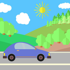 Blue Car on a Road on a Sunny Day. Summer Travel Illustration. Car over Landscape.