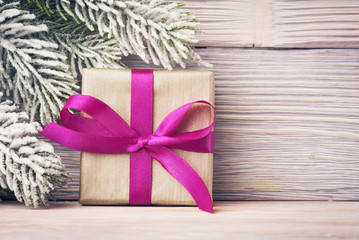 Open gift box over Xmas background