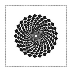 Graphic web of black rhombus in concentric circle with an open core. Graphic design. Vector illustration. Background design. Modern stylish. Swirling,rotating lines artistic graphic. Good for design.