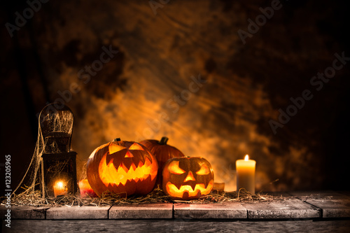 Halloween Pumpkins on old wooden table