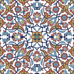 Garden Poster Moroccan Tiles Stylized flowers oriental wallpaper retro seamless abstract background vector, decoration tile print oriental tribal floral ornament paisley, arabesque floral pattern tile vintage