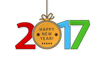 Happy New Year 2017 text with ball decoration.