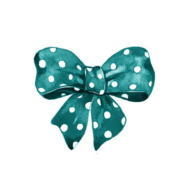 illustration of blue watercolor bow with polka dot