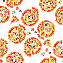 Pizza seamless pattern. Background illustration