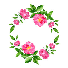 Watercolor hand drawn wild rosehip flower and leaves round wreath.