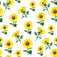 Seamless watercolour sunflowers pattern