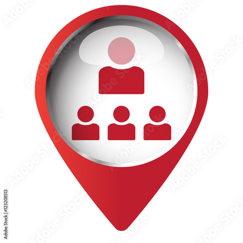 Map Pin Symbol With Organization Icon Red Symbol On White Backg