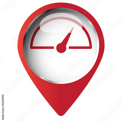 Map pin symbol with Speed Meter icon. Red symbol on white backgr ...
