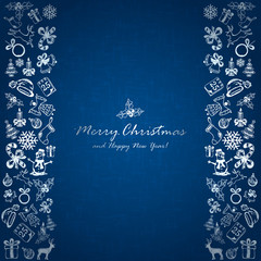 Silver Christmas elements on blue background