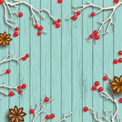 Christmas background in rustic style, dry branches with red berries on blue wooden desk, illustration