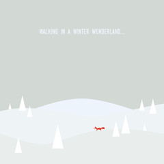 Winter wonderland concept vector illustration with nature snowy forest landscape and a fox. Christmas card template.
