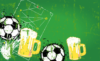 Grungy Soccer o. Football and beer design template, copy space,