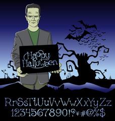 Halloween font set and Vector Vampire Dracula