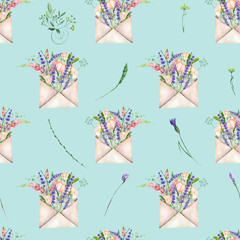 Seamless pattern with watercolor vintage mail envelopes and flowers, hand drawn on a blue background