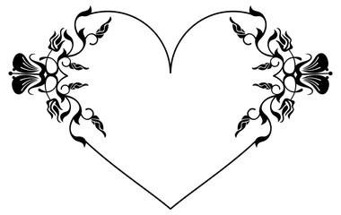 Heart-shaped silhouette frame with decorative flowers.