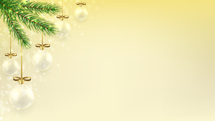 Christmas banner with glass balls on fir branches. Beautiful vector illustration with gold bows and shining light. Elegant background for xmas design. Happy New Year backdrop.
