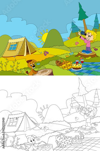 Cartoon scene of camping in the mountains - picnic - girl and her ...