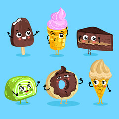 Cartoon funny foods characters isolated vector illustration. Funny sweet dessert face icon. Dessert emoji. Funny wafer, laughing cupcake and happy cookies. Cartoon emoticon face of dessert.