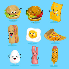 Cartoon funny fast foods characters isolated vector illustration. Funny food face icon. Fast food emoji. Funny burger, laughing cheese. Cartoon emoticon face of fast food. Gloomy bacon, sausage shy.