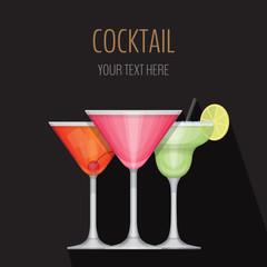 Glass of cocktail on black background. Cocktail bar menu card. F
