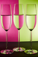 three glasses on colorfull back