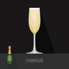 Glass of champagne on black background. Flat design style, vecto