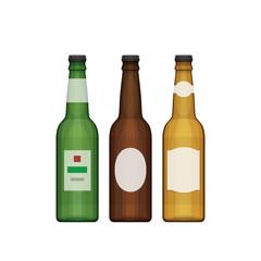 Set of different beer bottles. Types of beer. Flat design style,