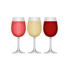 Set of different wine glasses, red, pink and white. Types of win