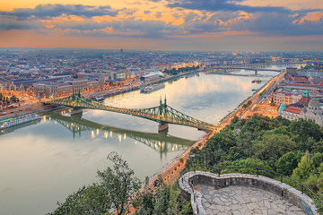 Liberty Bridge in the morning in Budapest, Hungary