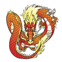 Flying red Chinese dragon on white