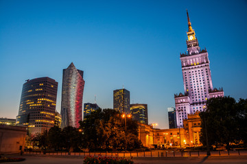 Illuminated Palace of Culture and Science in Warsaw, Poland