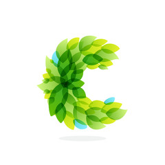 C letter logo formed by watercolor fresh green leaves.