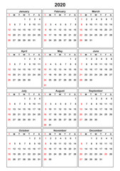 Calender 2020 in vector can be converted into any size for print