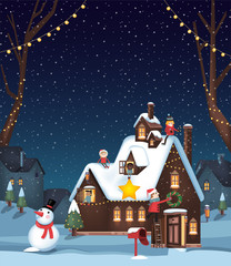 Decorating a winter house for Christmas B