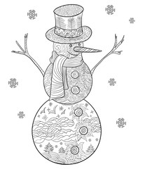 Hand drawn doodle illustration of Christmas snowman. Decorative page for adult coloring book. In the bottom circle shows the stylized birds flying above the clouds and trees.