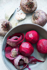Peeled beetroot in bowl