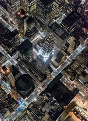 High angle view of Chrysler building at night