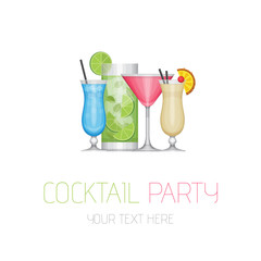 Cocktail party. Cocktail bar logotype. Flat design style, vector