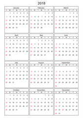 Calender 2018 in vector can be converted into any size for print