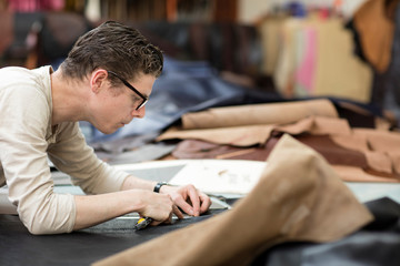 Man working with leather