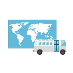 bus transportation vehicle and world map icon over white background. vector illustration