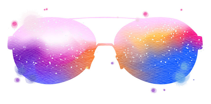 Watercolor colorful sunglasses isolated on white background.