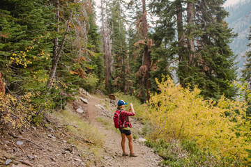 Woman hiking, taking photograph of view, Mineral King, Sequoia National Park, California, USA
