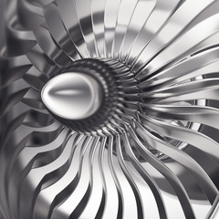 Turbo-jet engine of the plane, close up. 3d rendering
