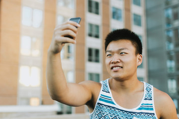 Man taking selfie, Boston, Massachusetts, USA