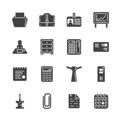 Solid icon set - office workspace