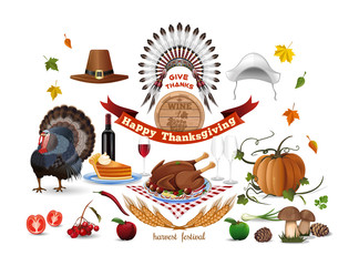 Thanksgiving icons set. Harvest festival. Thanksgiving symbols and greeting inscription. Vector color icons isolated on white background