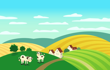 Autumn landscape. Cartoon farm houses silhouettes. Caws on meadow and winding road on fields. Rural community view among hills. Village countryside scene background. Vector Illustration
